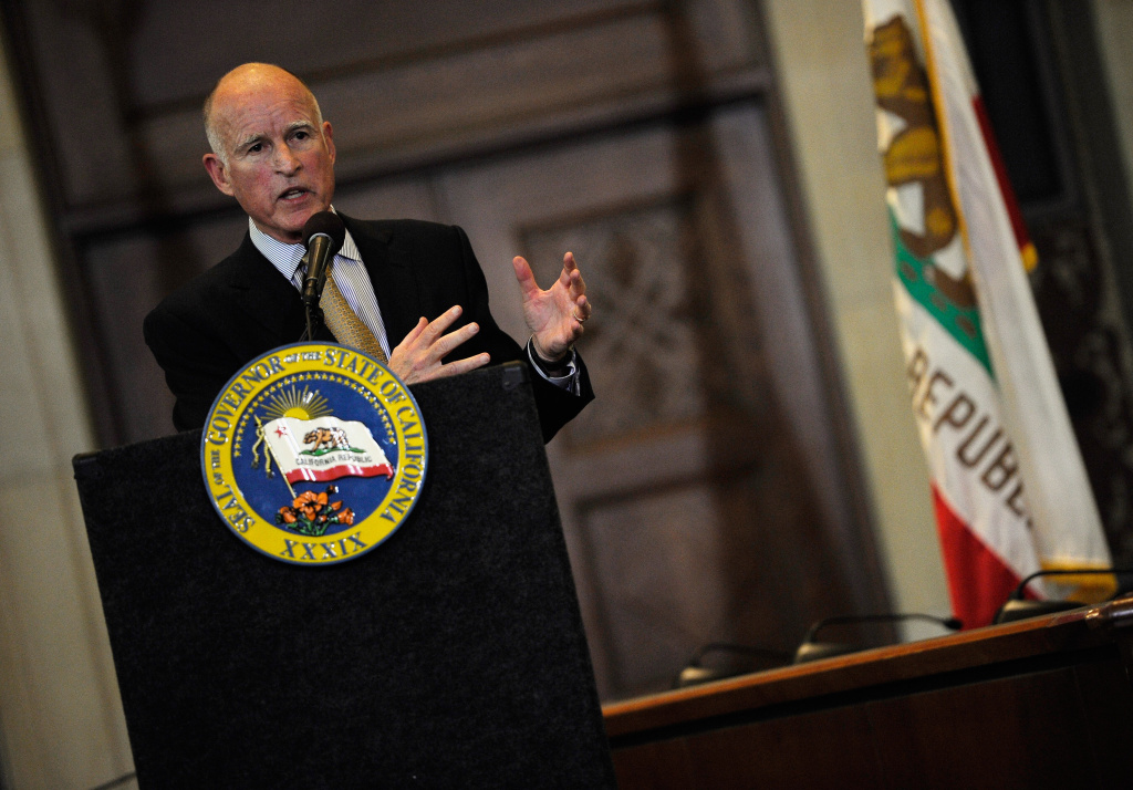 California Gov. Jerry Brown gives a speech at Los Angeles City Hall on January 18, 2012 in Los Angeles.