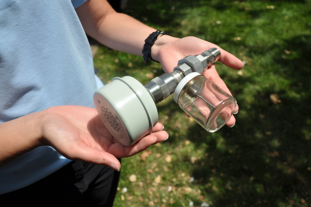 The device team NOx-Out built to attach to lawnmowers to cut emissions.