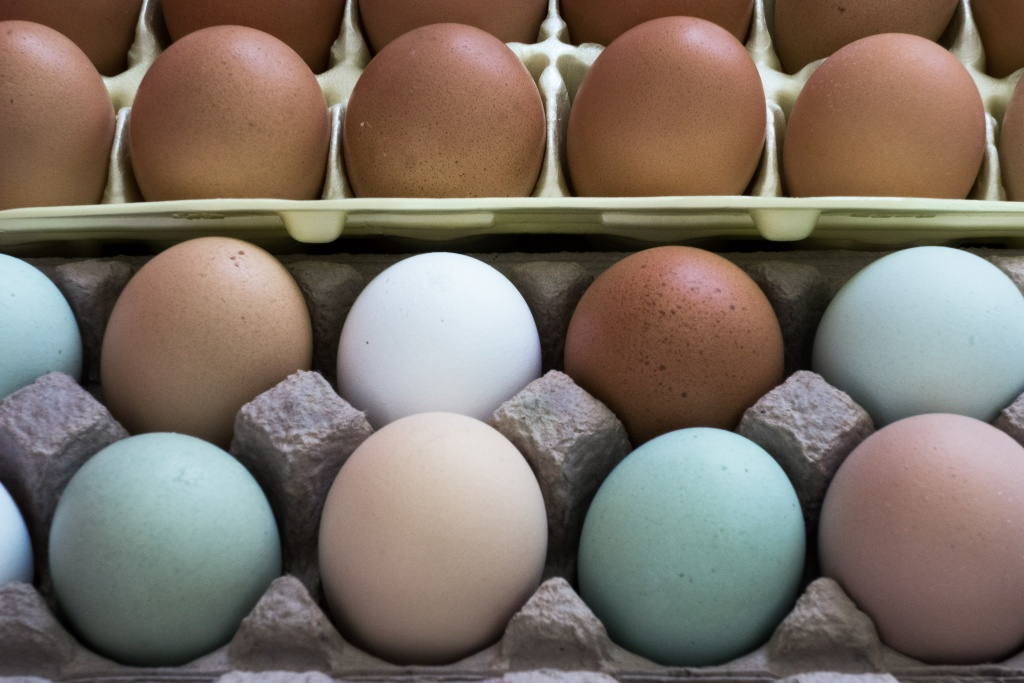 Natural eggs from chickens are seen for sale at a local Farmers Market in Annandale, Virginia, August 8, 2013.