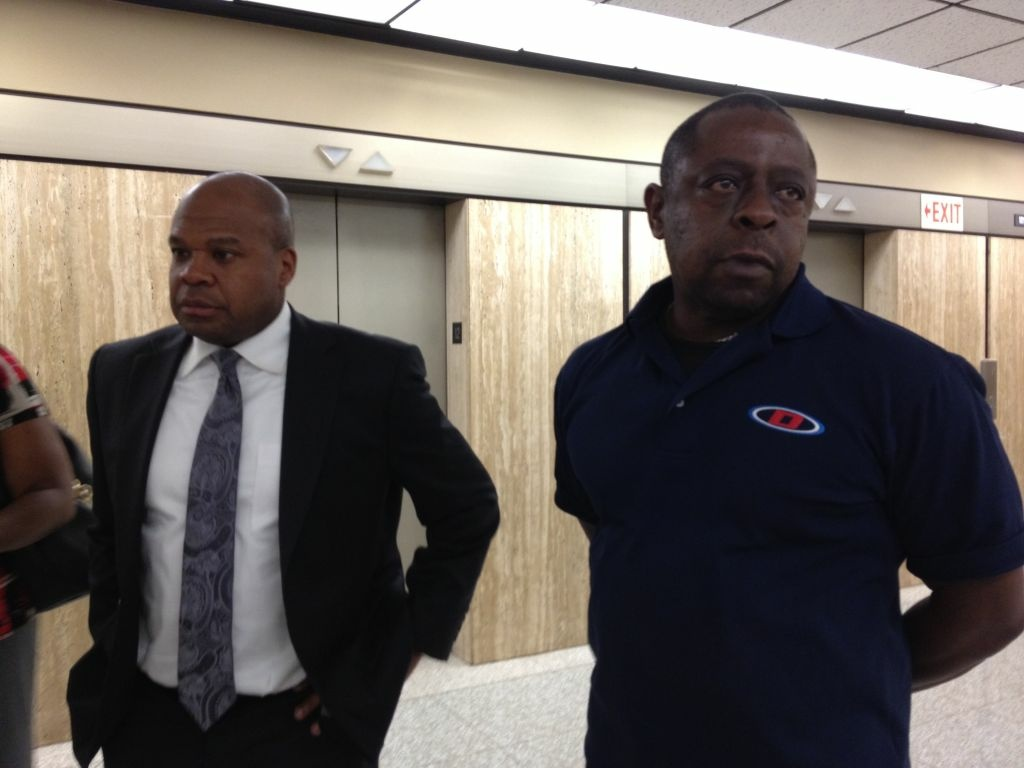 Jamiel Shaw, Sr., father of Jamiel Shaw, Jr., stands next to deputy district attorney Bobby Grace. The sentencing phase trial continues this week for a gang member convicted of killing a Los Angeles High School football standout four years ago.