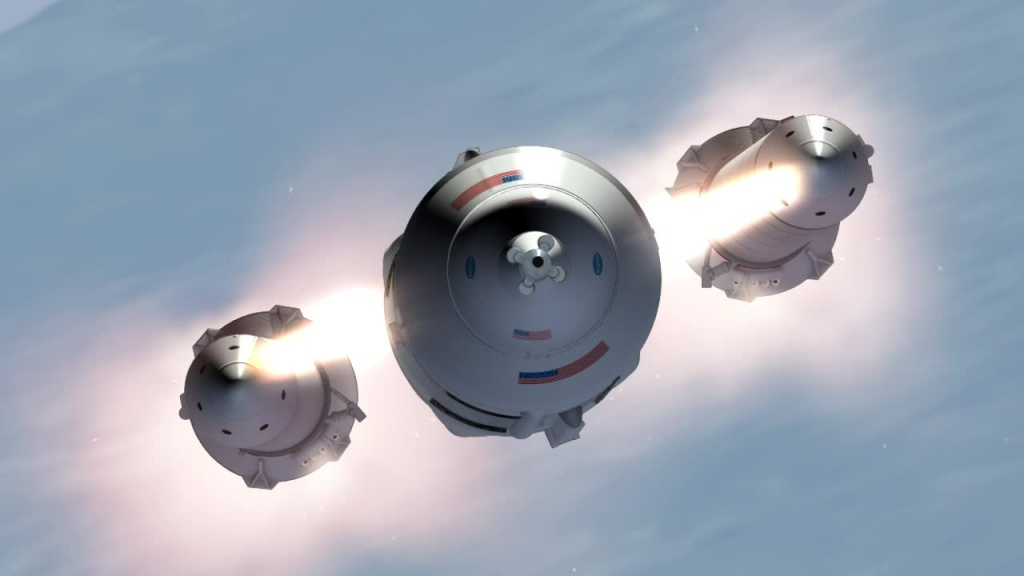 Artist concept of NASA's Space Launch System (SLS) solid rocket boosters firing their separation rockets and pushing away from the core stage, which continues toward space with the Orion spacecraft.