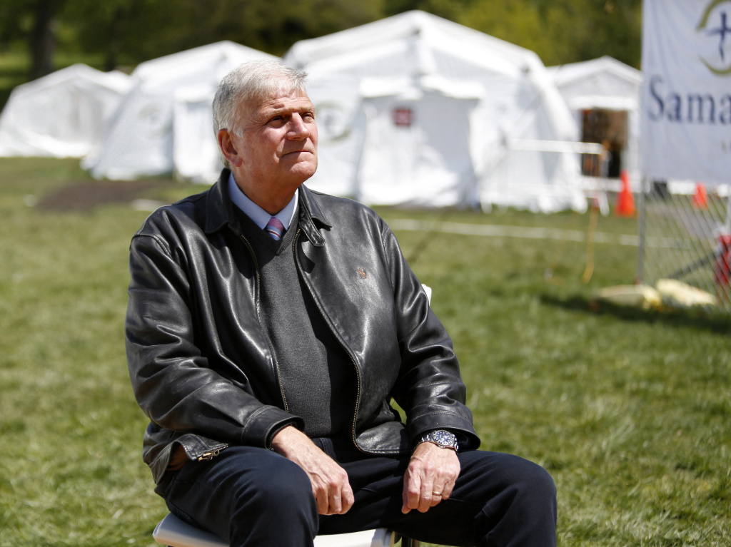 The Rev. Franklin Graham, president and CEO of Samaritan's Purse, sits for a portrait at his group's field hospital in New York's Central Park in May 2020. Graham has spoken out in support of the vaccine.