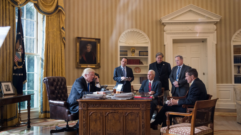 In late January, President Trump speaks on the phone to Russian President Vladimir Putin while White House chief of staff Reince Priebus (from second left), Vice President Pence, White House chief strategist Steve Bannon, press secretary Sean Spicer and national security adviser Michael Flynn listen. Just six months later, only Bannon is still serving in the Trump-Pence administration.