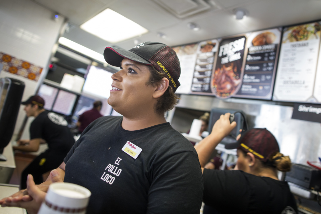 A month ago, Delaney Martinez started working at this El Pollo Loco owned by transgender activist, public speaker and businesswoman Michaela Mendelsohn. Martinez met Mendelsohn at the Los Angeles LGBT Center.