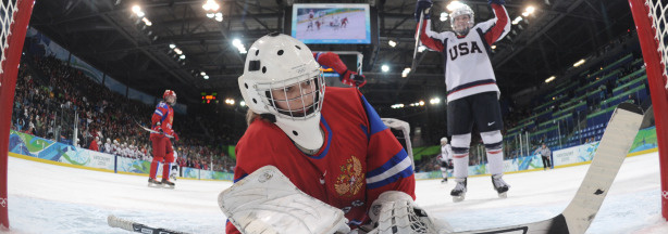 Russian goalie Anna Prugnova(L) is scored on by the US during the Women's Ice Hockey preliminary game between Russia and USA at the UBC Thunderbird Arena during the XXI Winter Olympic Games in Vancouver, Canada on February 16, 2010.