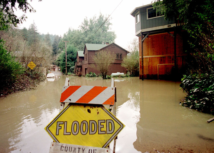 El Nino Rains Overflow River --El Nino storms flood the Russian River in California in March, 1998.
