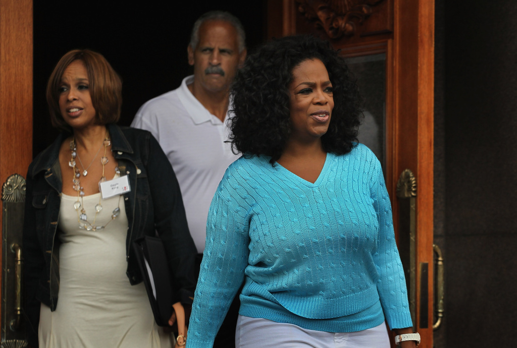 Oprah Winfrey with Gayle King (L) and Stedman Graham (C) attend the Allen & Company Sun Valley Conference.