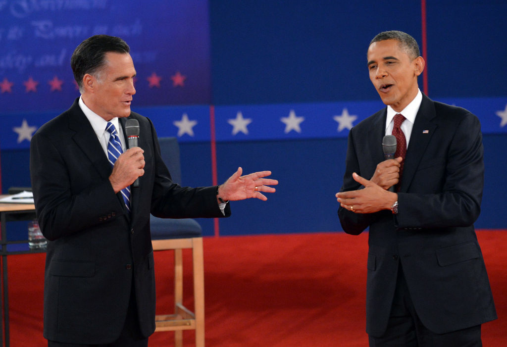 US President Barack Obama and Republican Presidential nominee Mitt Romney debate on October 16, 2012 at Hofstra University in Hempstead, New York. Undecided voters asked questions during a town hall format.