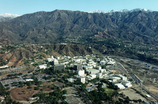 An aerial view of the Jet Propulsion Laboratory (JPL), Pasadena, California and the surrounding San Gabriel Mountains.
