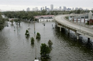 A view of the New Orleans Skyline is seen after Hurricane Katrina came through the area with high winds and rain on August 29, 2005.