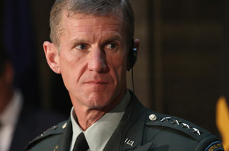 File photo: General Stanley A. McChrystal, Commander, U.S. Forces Afghanistan looks on during a press conference at Bendlerblock on April 21, 2010 in Berlin, Germany.