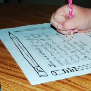 Child writing cursive