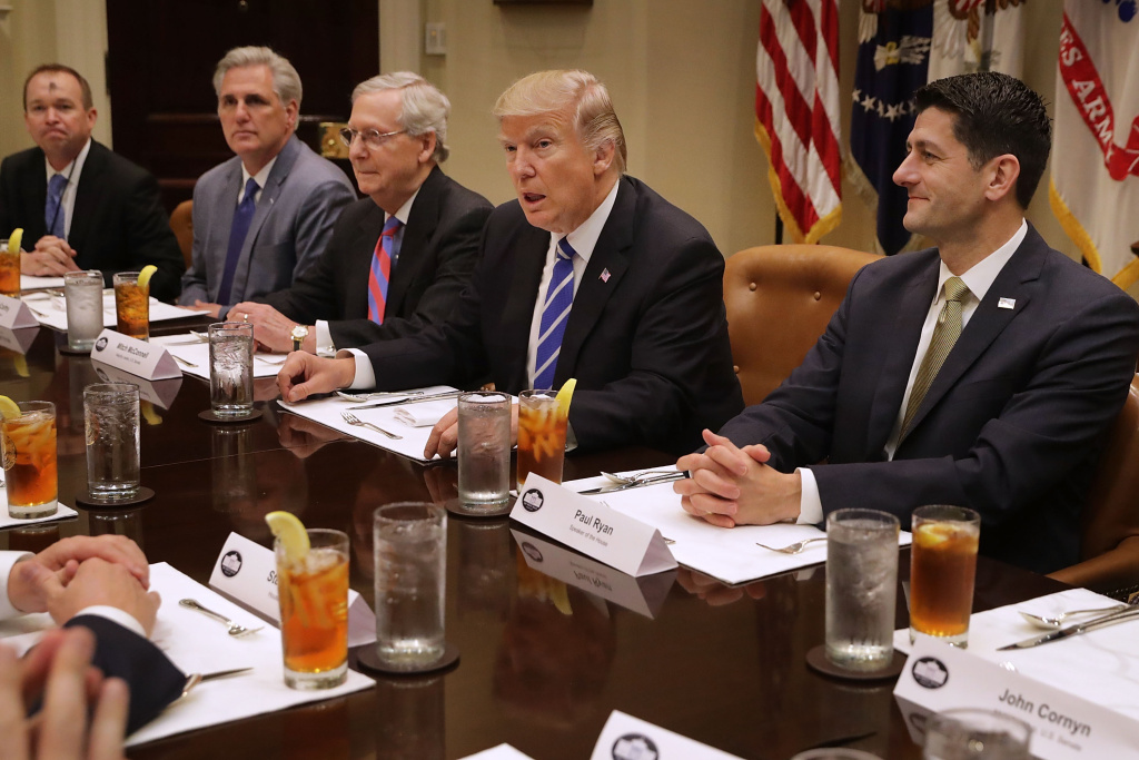 President Donald Trump (2nd R) hosts Office of Managment and Budget Director Mick Mulvaney (L) and Republican Congressional leaders (2nd L-R) Rep. Kevin McCarthy (R-CA); Senate Majority Leader Mitch McConnell (R-KY), Speaker of the House Paul Ryan (R-WI) and others.