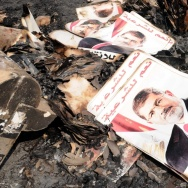 Posters of ousted Egyptian President Mohammed Morsi amid the rubble of a protest camp in Cairo after Wednesday's crackdown by government forces.
