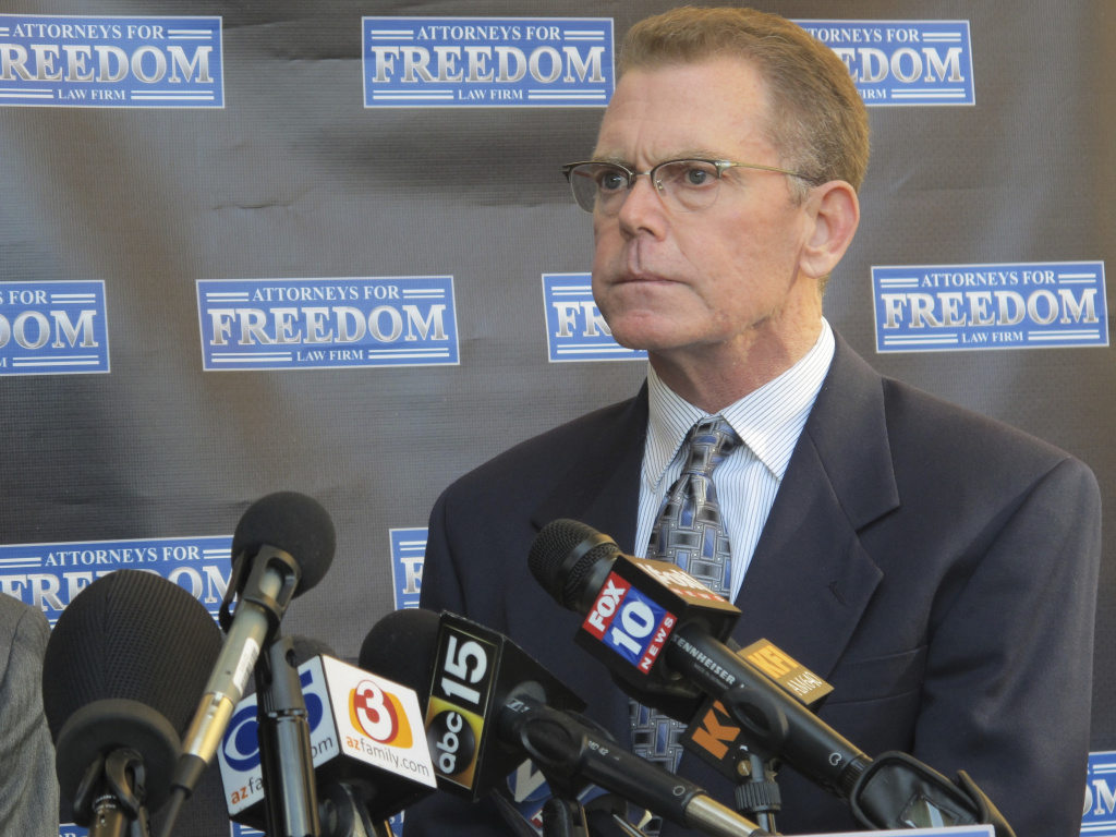 Douglas Haig held a news conference after being charged with selling unlicensed bullets to Stephen Paddock, the gunman behind the Las Vegas massacre.