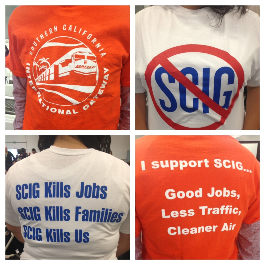 Supporters and opponents of the Southern California International Gateway project express their opinions on t-shirts at a harbor commissioners meeting in March.