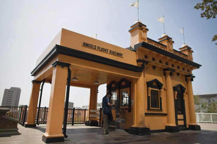 Angels Flight Railway first opened in 1901 in downtown Los Angeles. The funicular, which runs from South Olive Street to South Hill Street, has been closed since 2013.