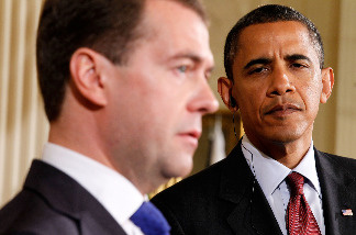 President Barack Obama (R) and Russian President Dmitry Medvedev participate in a news conference June 24, 2010 at the East Room of the White House in Washington, DC.