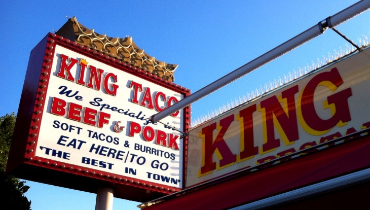 King Taco #1 in Cypress Park, which opened c. 1975 and began the empire of Raul Martinez, Sr., who died Tuesday at 71.