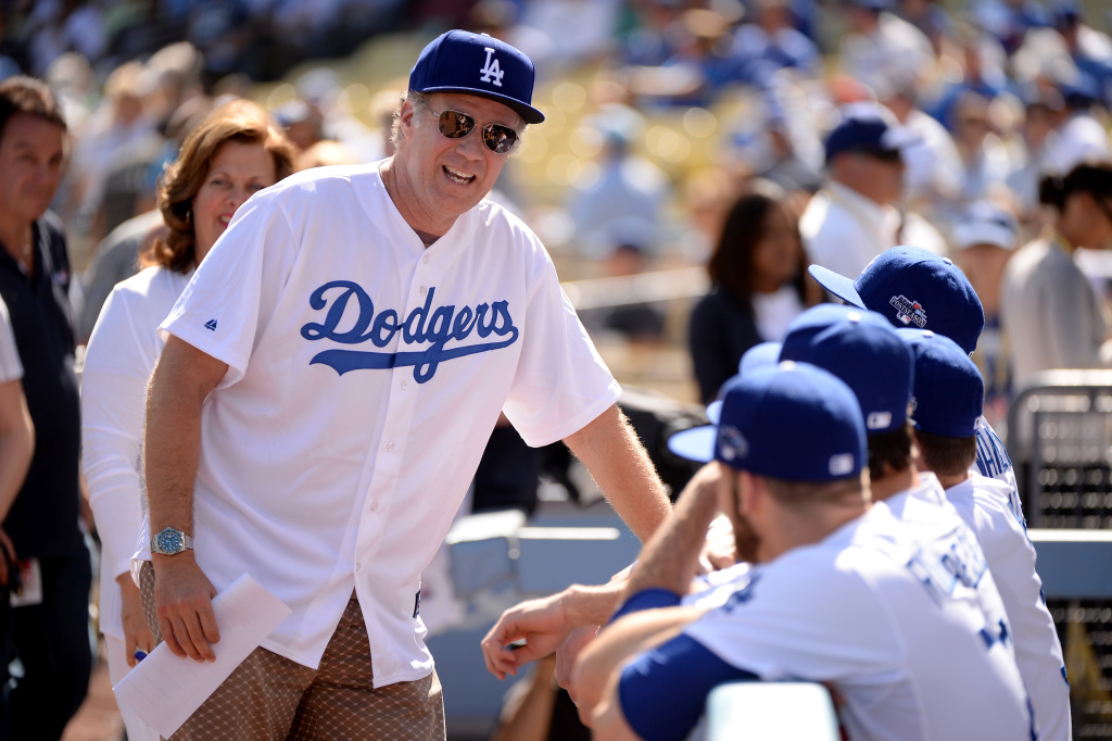 LOS ANGELES, CA - OCTOBER 16:  Actor Will Ferrell talks with members of the Los Angeles Dodgers before the Dodgers take on the St. Louis Cardinals in Game Five of the National League Championship Series at Dodger Stadium on October 16, 2013 in Los Angeles, California.  (Photo by Harry How/Getty Images)