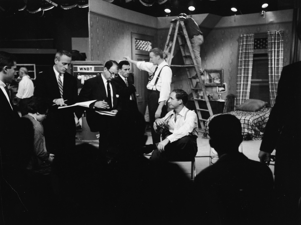 American comedian Sid Caesar with his writers during rehearsal on the set of his live television sketch comedy series,