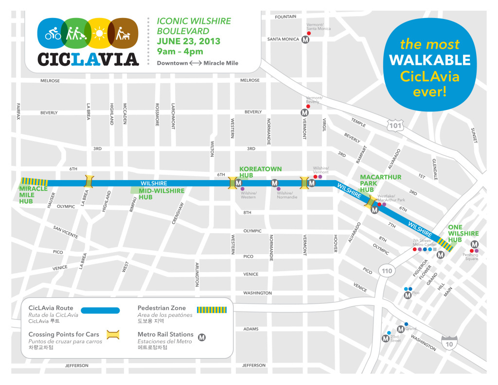 CicLAvia will close six miles of Wilshire Boulevard to cars on Sunday, June 23. Shown is a map of the CicLAvia route.
