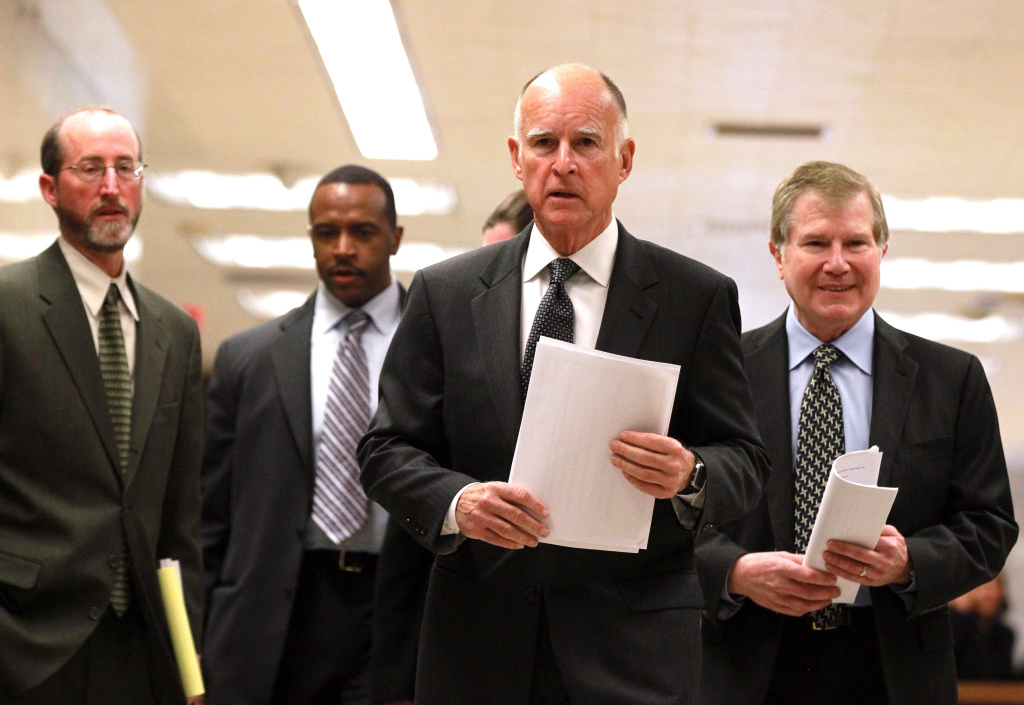 California Governor Jerry Brown (C) announced that he will seek a tax increase from voters.