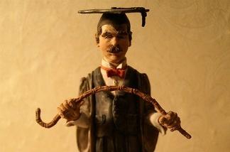 Disgruntled teacher represented in sculpture form.