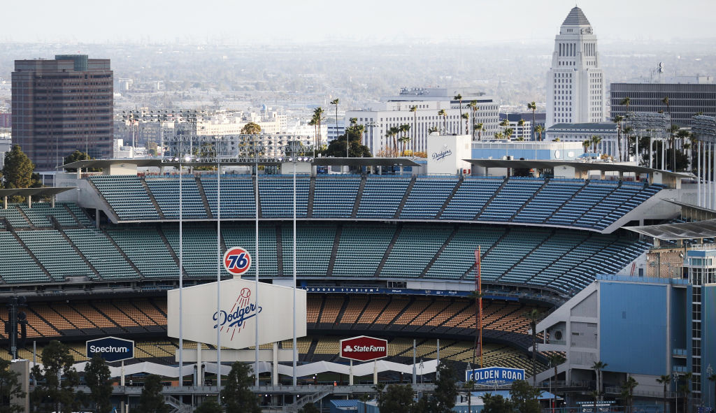 Dodger Stadium is viewed on what was supposed to be Major League Baseball's opening day, now postponed due to the coronavirus, on March 26, 2020 in Los Angeles, California.