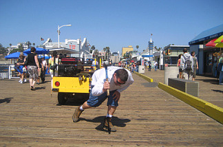 Carpenter Eric Broeske has done carpentry work on his beloved 100-year-old Santa Monica Pier since 1991.