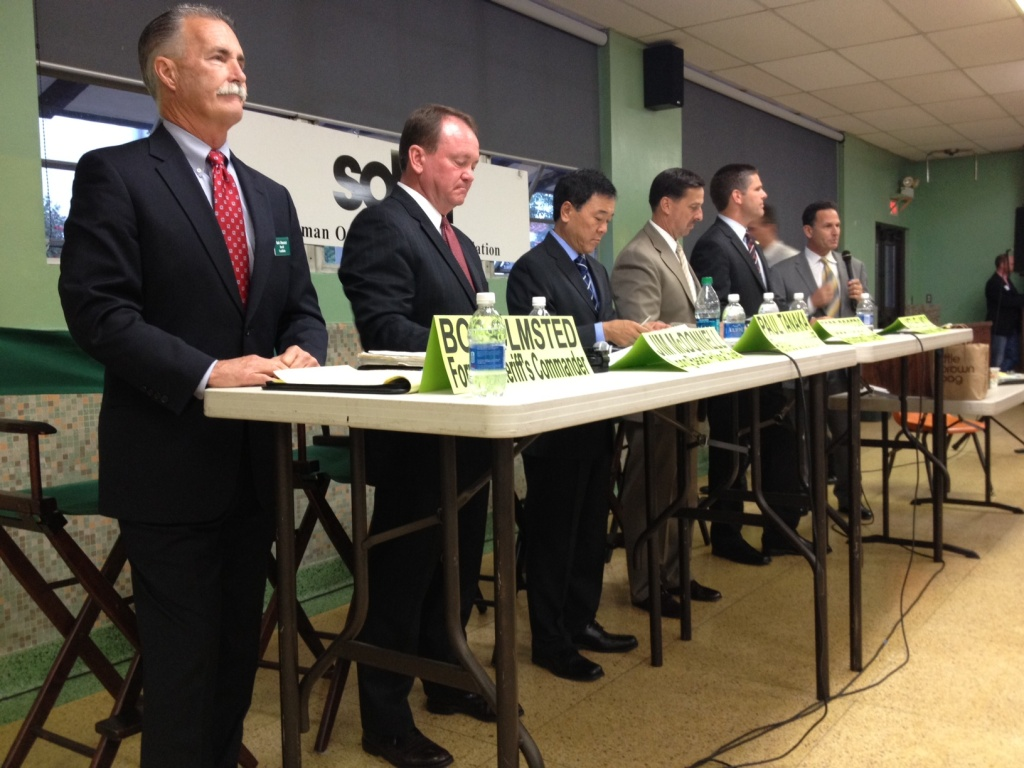 LA Sheriff candidates debated at Notre Dame High School in Sherman Oaks Wednesday: from left, Bob Olmsted, Jim McDonnell, Paul Tanaka, Todd Rogers, and James Hellmold.