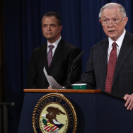 WASHINGTON, DC - MARCH 02:  U.S. Attorney General Jeff Sessions (R) answers questions during a press conference at the Department of Justice on March 2, 2017 in Washington, DC.
