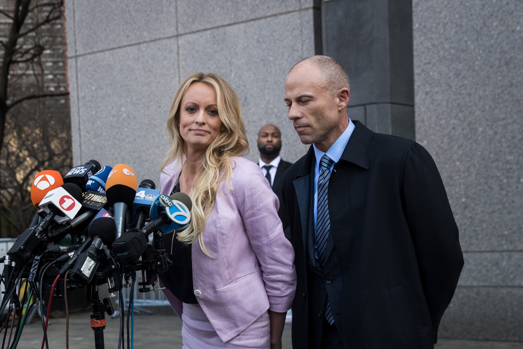 Adult film actress Stormy Daniels (Stephanie Clifford) and Michael Avenatti, attorney for Stormy Daniels, speak to the media as they exit the United States District Court Southern District of New York for a hearing related to Michael Cohen, President Trump's longtime personal attorney and confidante, April 16, 2018 in New York City.