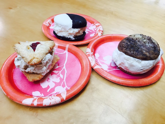 Take Two hosts Alex Cohen (left) and A Martinez (right) taste-test Coolhaus' latest ice cream sandwich creations.