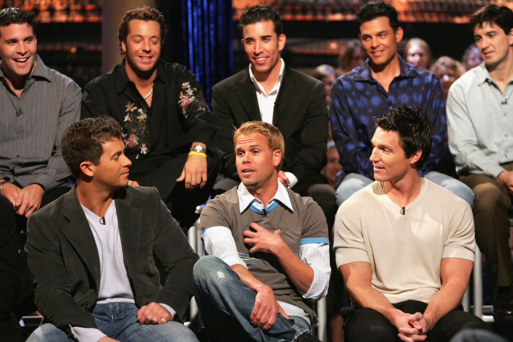 Contestants (L-R) Stu, Josh, Jason (frontrow) and Kevin, Mark, David, Eric T. and Chris M. (backrow) attend the taping of The Bachelorette - The Men Tell All Special on February 12, 2005 in Los Angeles, California.