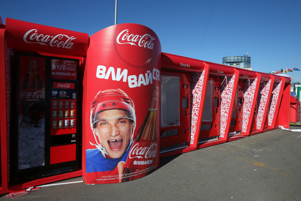 A view of a Coca-Cola machine featuring Alex Ovechkin of Russia ahead of the Sochi 2014 Winter Olympics at the Olympic Park on February 3, 2014 in Sochi, Russia.