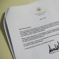 A copy of the termination letter to FBI Director James Comey from US President Donald Trump is seen at the White House on May 9, 2017 in Washington, DC.