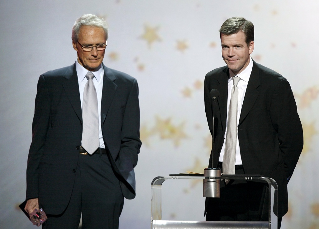 Director Clint Eastwood (L) and Producer Robert Lorenz accept a Critics' Choice Awards held at the Santa Monica Civic Auditorium.