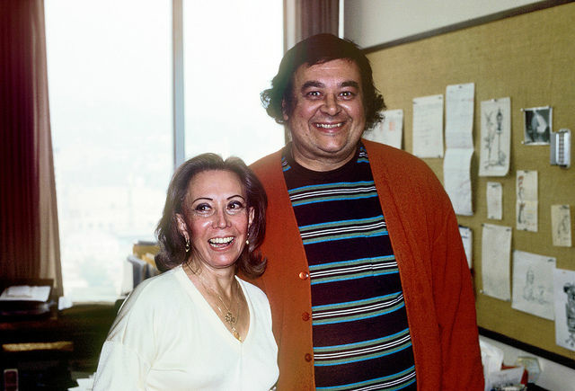 June Foray and comic strip letterer Shel Dorf at Chuck Jones studio in Los Angeles, 1978.