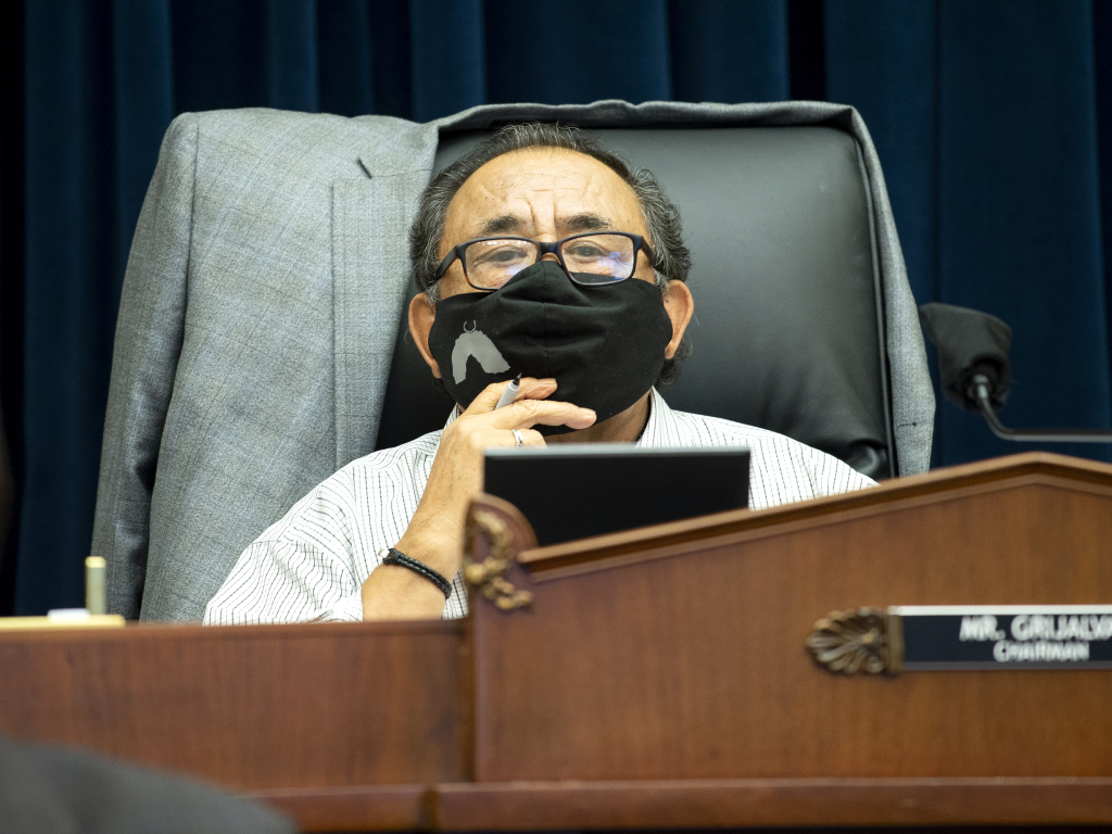 U.S. House Natural Resources Committee Chairman Raul Grijalva of Arizona presides over a hearing examining Park Police response to Lafayette Square protests on June 29 in Washington, D.C. Grijalva tested positive for COVID-19 on Friday.