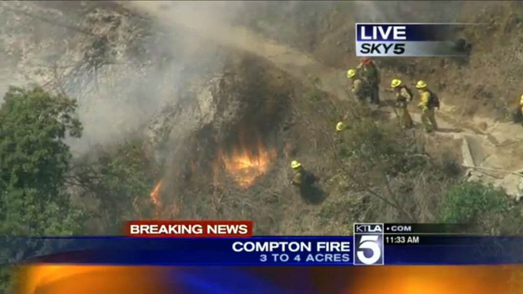 4-acre brush fire in unincorporated Compton