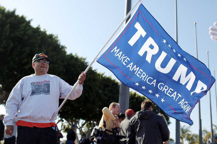 Gregg Donovan of Santa Monica attends a rally for Republican presidential candidate Donald Trump at the Pacific Amphitheater in Costa Mesa on Thursday night, April 28, 2016.