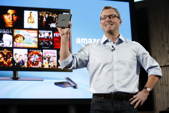 Peter Larsen, vice president of Amazon.com Inc., introduces Amazon FireTV during a news conference in New York, U.S., on Wednesday, April 2, 2014. The worlds largest Internet retailer unveiled FireTV, a television-viewing device for streaming movies, television shows and other video from the Web.