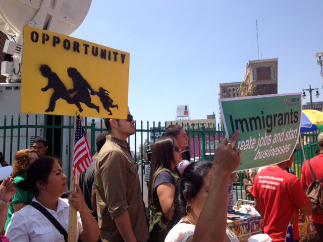 Demonstrators at the downtown Los Angeles May Day march for immigration reform, May 1, 2013. Calls for Congress to move on immigration reform have been coming this week from both the White House and from a conservative coalition of business, religious and other groups, who plan to put pressure on House Republicans to act.