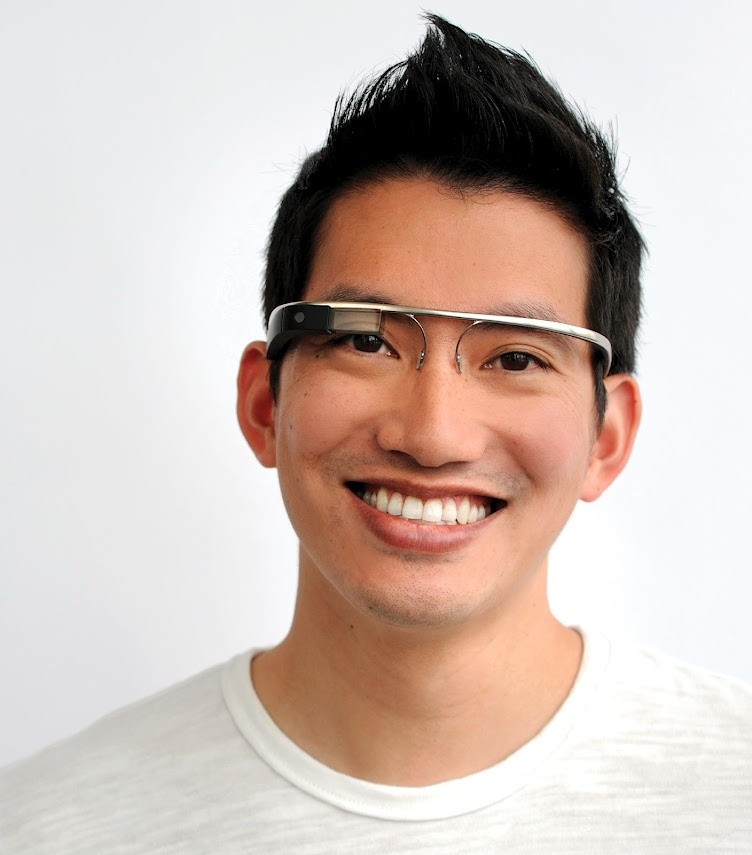 Stephen, one of Google's software engineers, models the prototype of Google's glasses project.