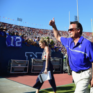 LOS ANGELES, CA - Former Head coach Jeff Fisher of the Los Angeles Rams celebrates as he leaves the field after his team's 9-3 victory over the Seattle Seahawks in the home opening NFL game at Los Angeles Coliseum on September 18, 2016 in Los Angeles, California.  He lost his job this week. (Photo by Harry How/Getty Images)