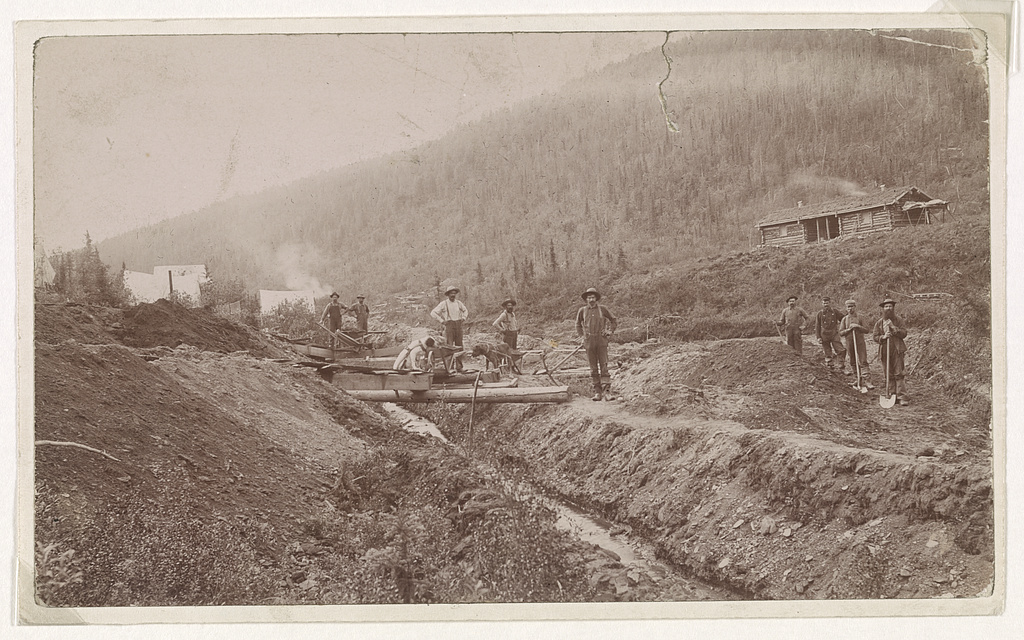 Gold miners pose near their camp on a hillside in El Dorado, California circa 1848 to 1853.