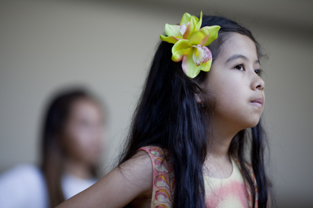 Arianna Anderson takes a hula class at the George Nakano Theatre at the Torrance Cultural Arts Center. The daughter of a Hawaiian father and Mexican-American mother, Arianna has spent five years in the Los Angeles Unified school district's English learner program. The Andersons believe she didn't belong there in the first place.