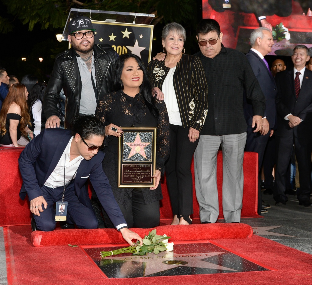 Chris Perez, A.B. Quintanilla III, Suzette Quintanilla, Marcella Samora and Abraham Quintanilla Jr. (left to right) attend a ceremony honoring singer Selena Quintanilla with a star on the Hollywood Walk of Fame on November 3, 2017.