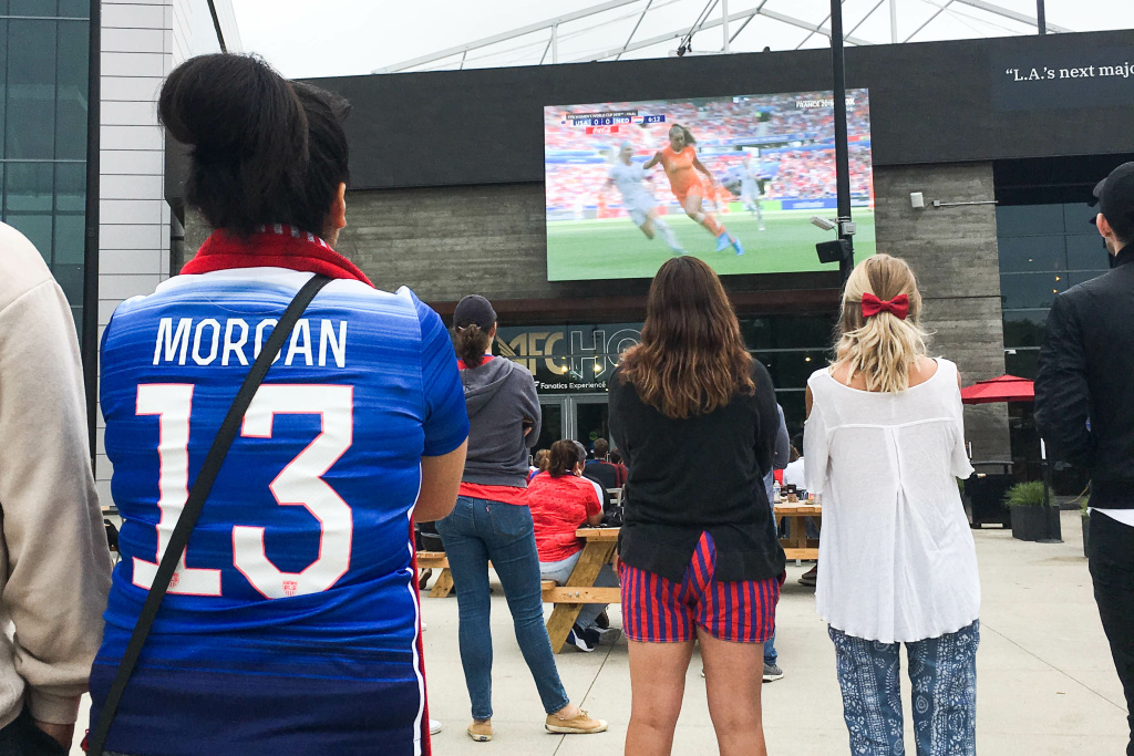 L.A. soccer fans watch the final game of the women's World Cup at the L.A. Football Club's stadium.